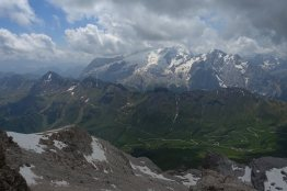 Looking toward the Marmolada from Piz Boè. Padon chain in the foreground.