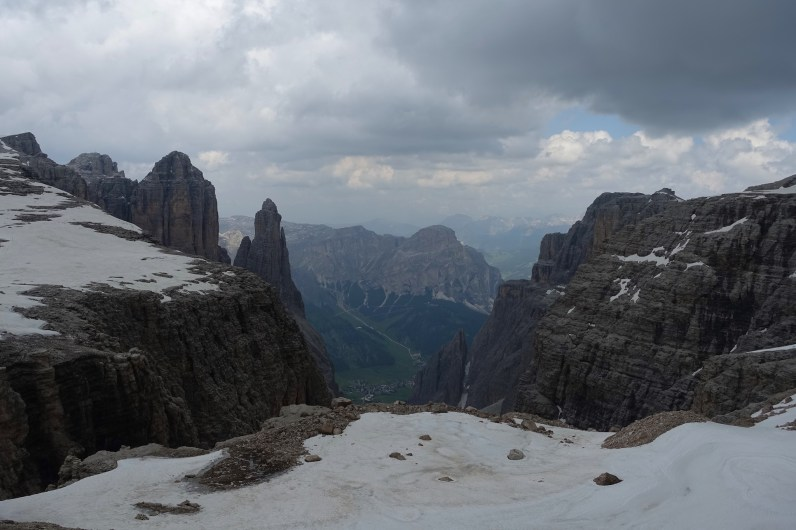 Looking down toward Colfosco from the Sella Massif