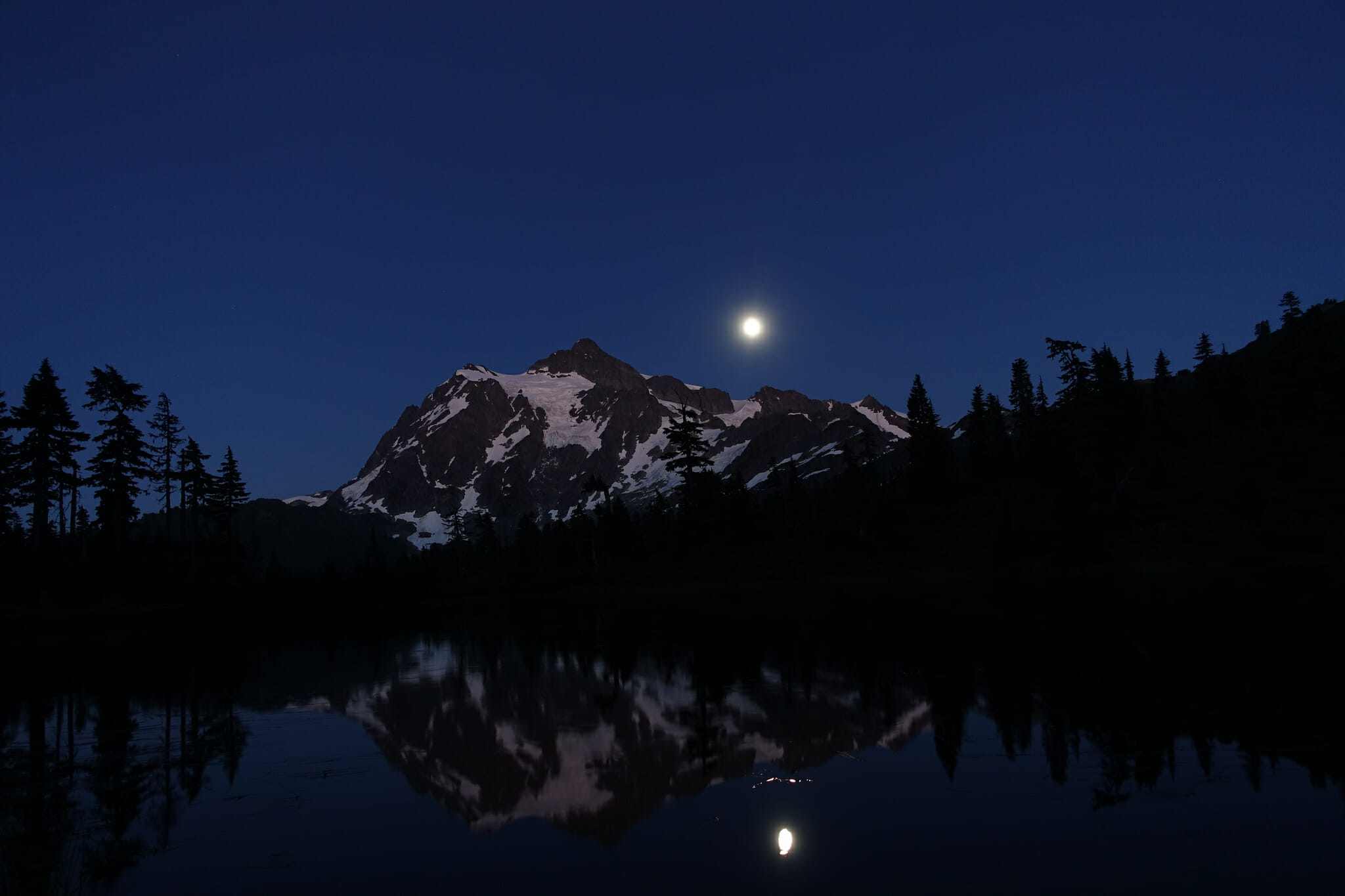 Moonrise over Mount Shuksan and Picture Lake