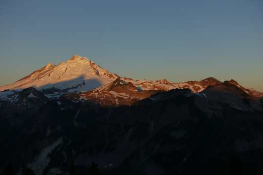 Shuksan's shadow on Baker at dawn