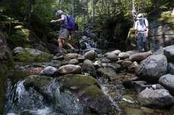 Two hikes cross Blue Brook on rocks