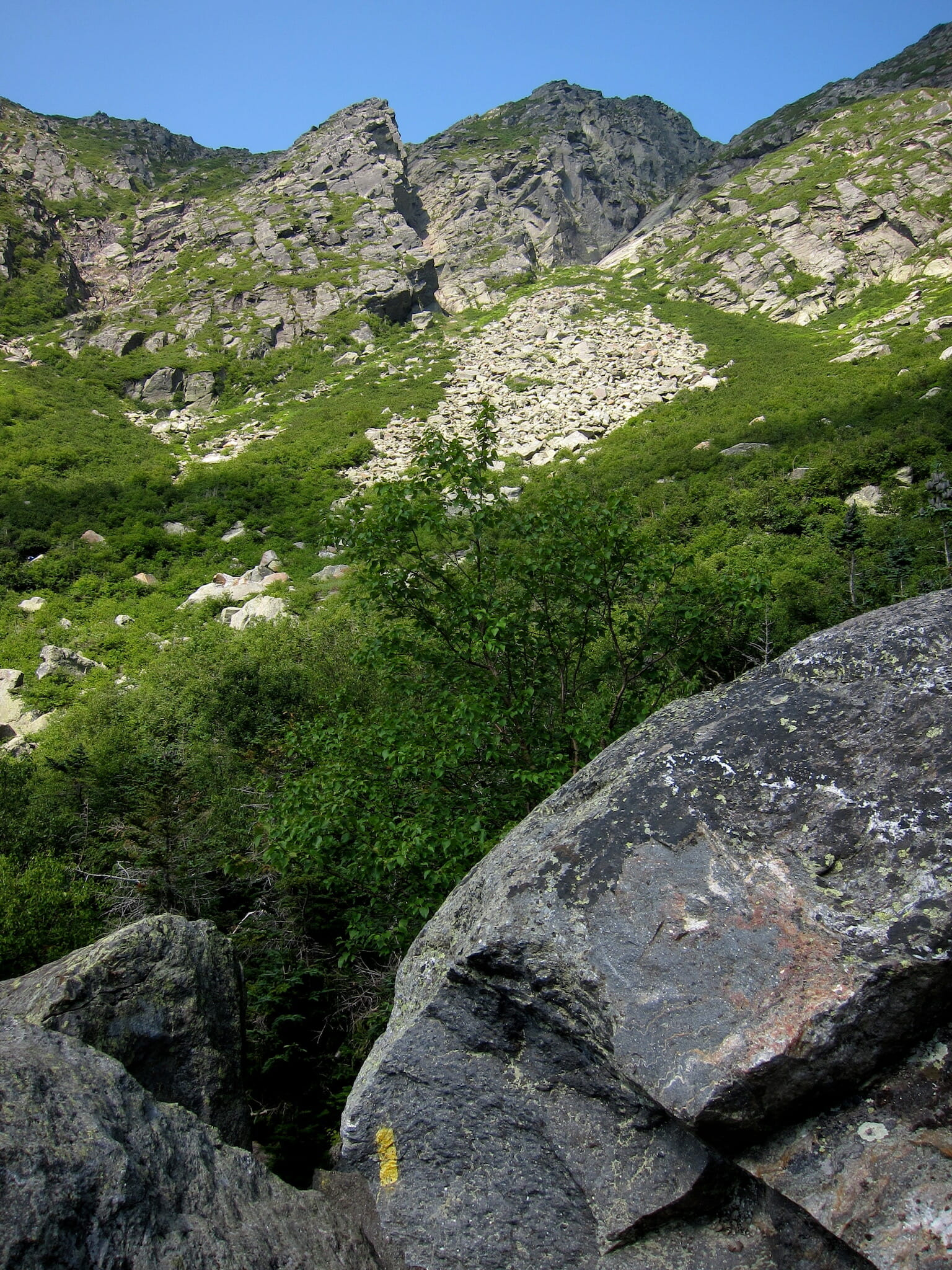 Looking up at Huntington Ravine among boulders and a trail blaze