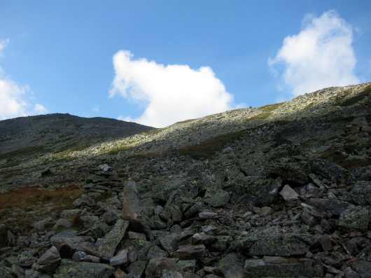 Rocky trail and landscape on the Alpine Garden, Mount Washington