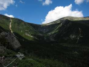 Tuckerman Ravine and Mount Washington summit from Boott Spur