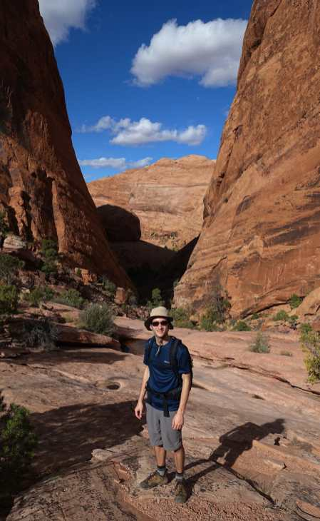 Kyle at the Breach, Syncline Loop Trail, Canyonlands National Park