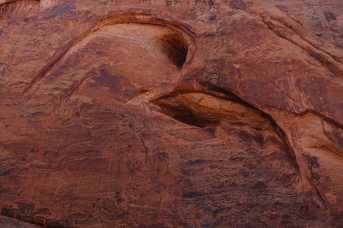 Bird-shaped erosion in the rock walls near The Breach, Syncline Loop Trail, Canyonlands National Park