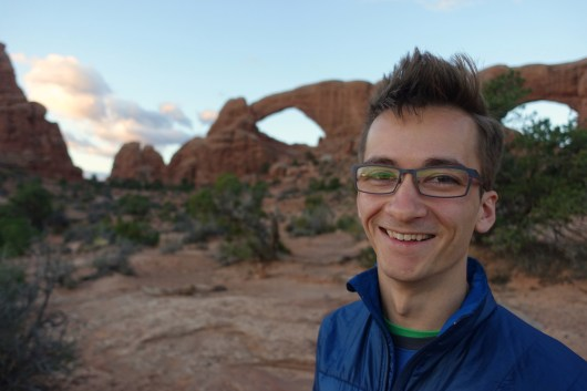 Kyle waiting for Sunrise, windows section, Arches National Park