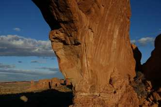 Inside North Window arch at dawn, Arches National Park