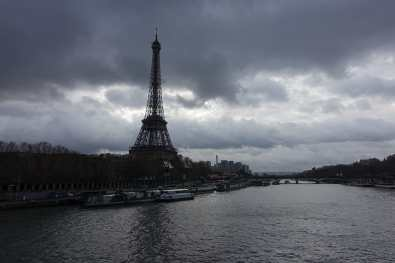 Eiffel Tower and the Seine on a cloudy day