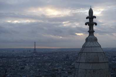 view from Sacré-Cœur on a cloudy day