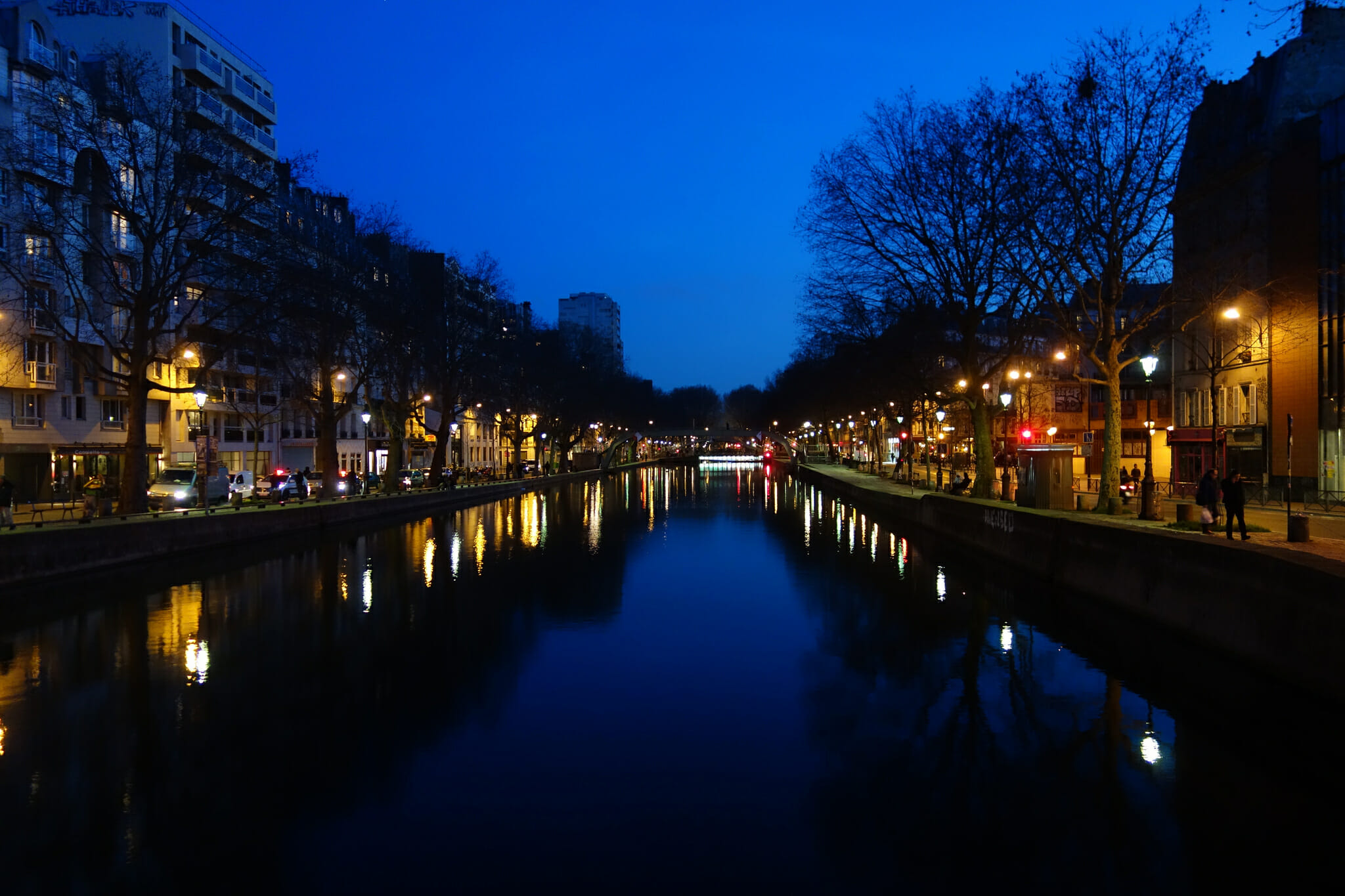 view of Canal Saint-Martin at night