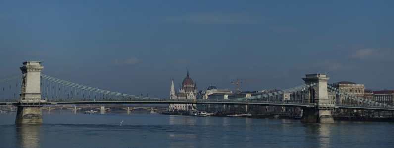 Chain Bridge, Danube River, and Hungarian Parliament Building