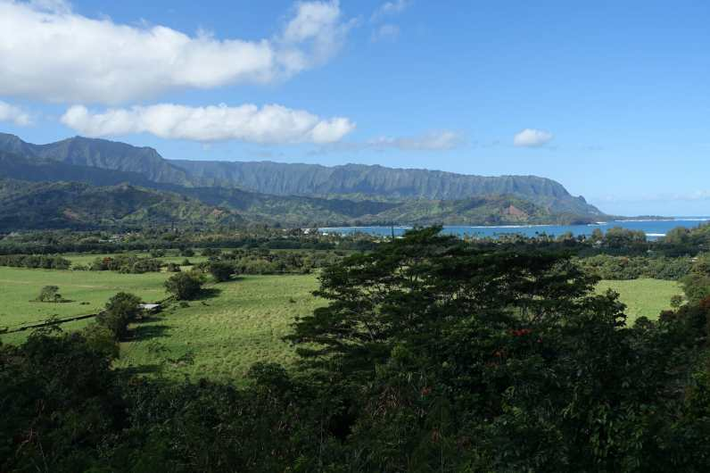 green fields and Hanalei, with the mountains of Na Pali coast in the background