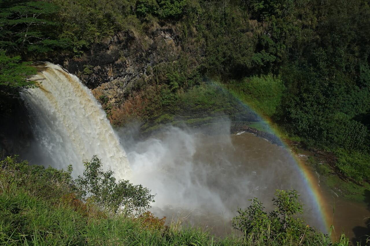 rainbow in the mist of Wailua Falls