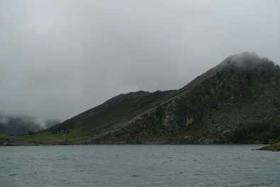 Lago de Enol with mountains in the background