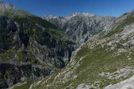 Looking down at the Cares Gorge, with peaks of the Eastern Massif in the background
