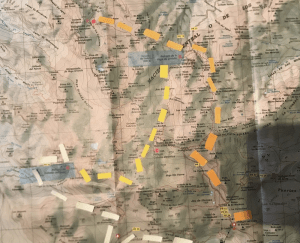 Post its on a map of the Central Massif