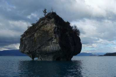 An island in the lake, with mountains in the background, Capillas de Mármol