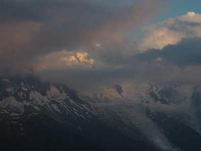 Cloud, dusk view of Mont Blanc at La Flégère