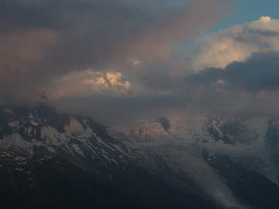 Cloud, dusk view of Mont Blanc at La Flégère