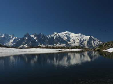 Lac De Cheserys and Mont Blanc