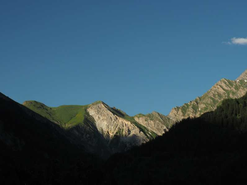 Looking back up at Mont de la Saxe in the evening light