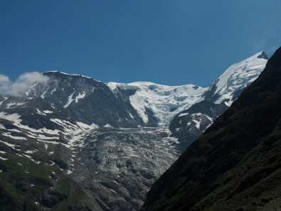 view of Bionnassy glacier from Col de Tricot