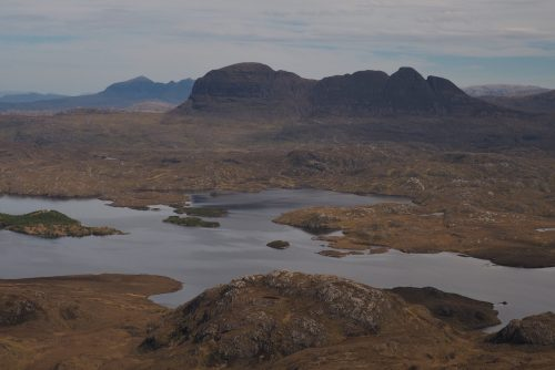 View toward Suilven and Quinag from Stac Pollaidh