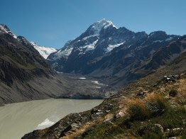 Hooker Lake and Hooker Glacier, with Aoraki / Mount Cook in the background