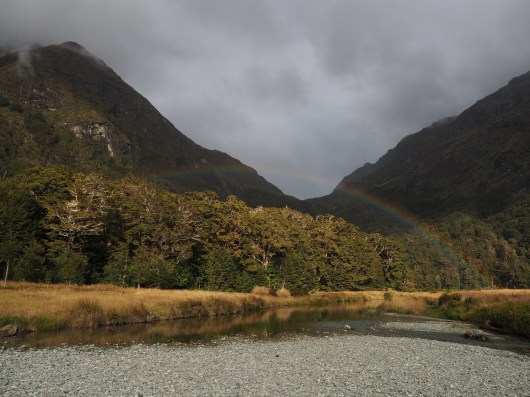 Rainbow at Routeburn Flats and Routeburn River.