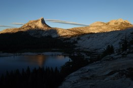 Cathedral Peak, Echo Peaks, and Lower Cathedral Lake at sunset