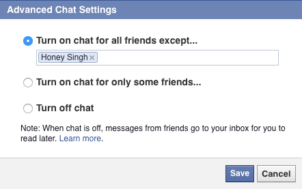 Facebook turn off chat for selected person
