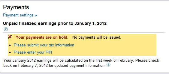 Submit Adsense Tax Information
