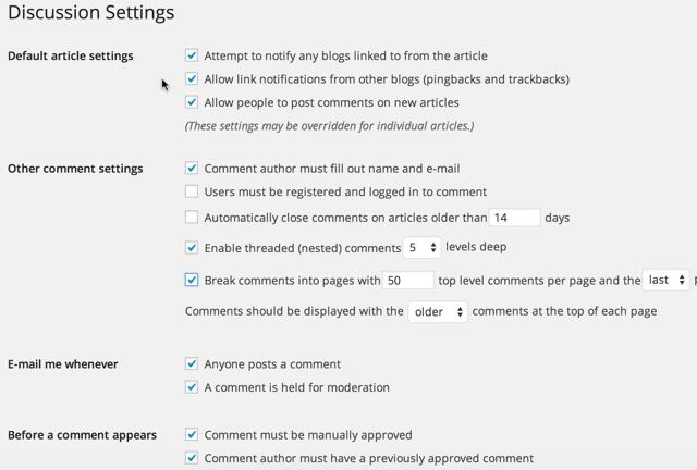 WordPress comment settings