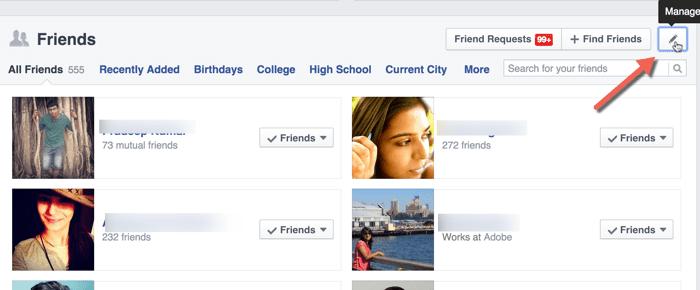 Gérer la confidentialité de la liste d'amis Facebook