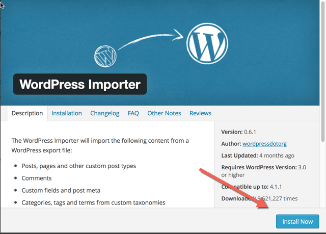 WordPress Importer plugin