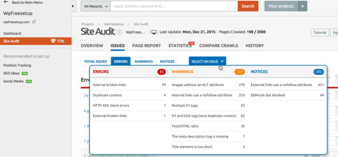 SEMrush site audit