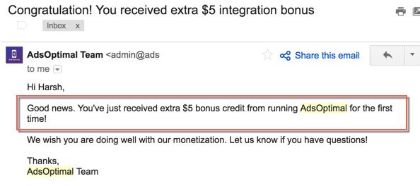 AdsOptimal Extra Bonus
