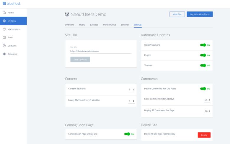 Dashboard di gestione di WordPress per Bluehost