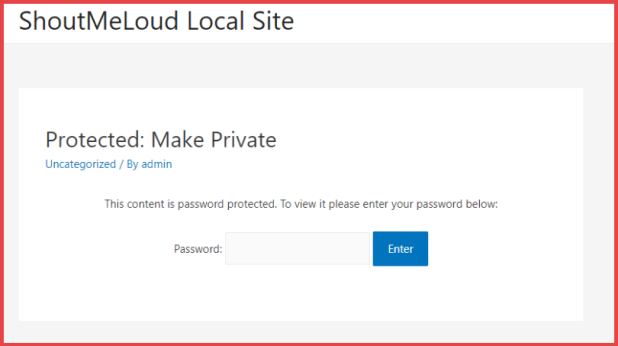 WordPress Post with password