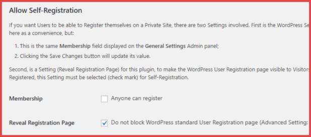 allow self registration in wordpress