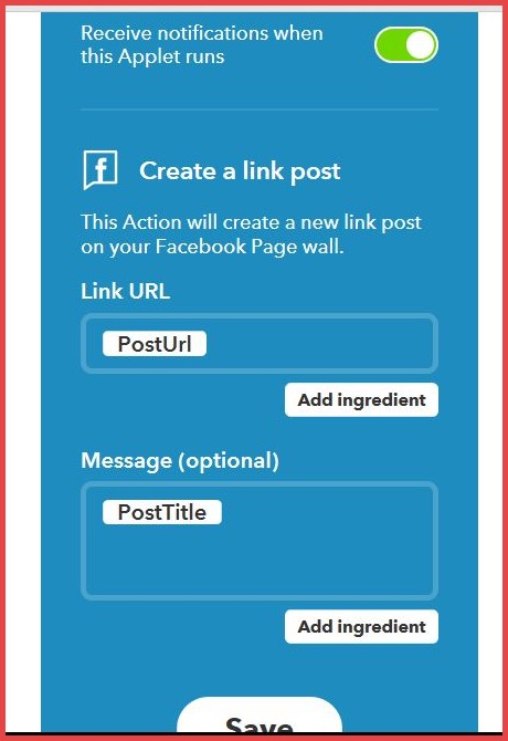 Create new Applets in IFTTT