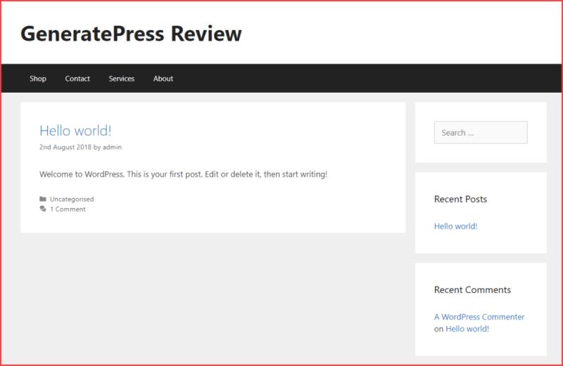 Default GeneratePress look