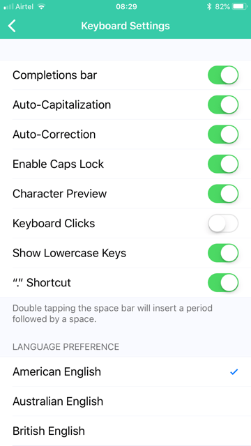 Grammarly keyboard settings