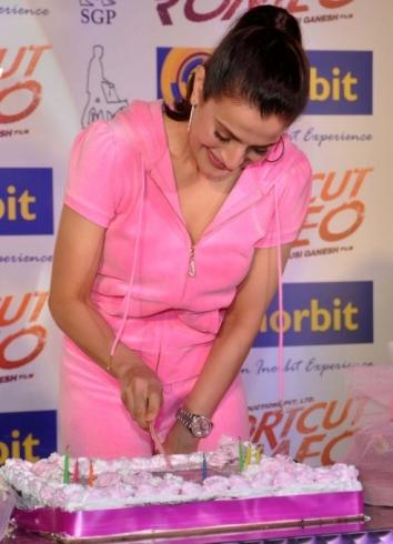 ameesha cutting cake-shortcut-showbizbites