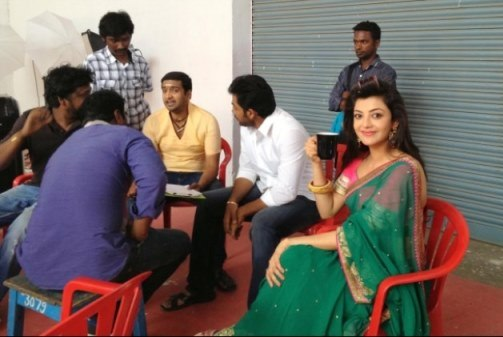 Kajal Agarwal in All In All Azhagu Raja On Location Photos