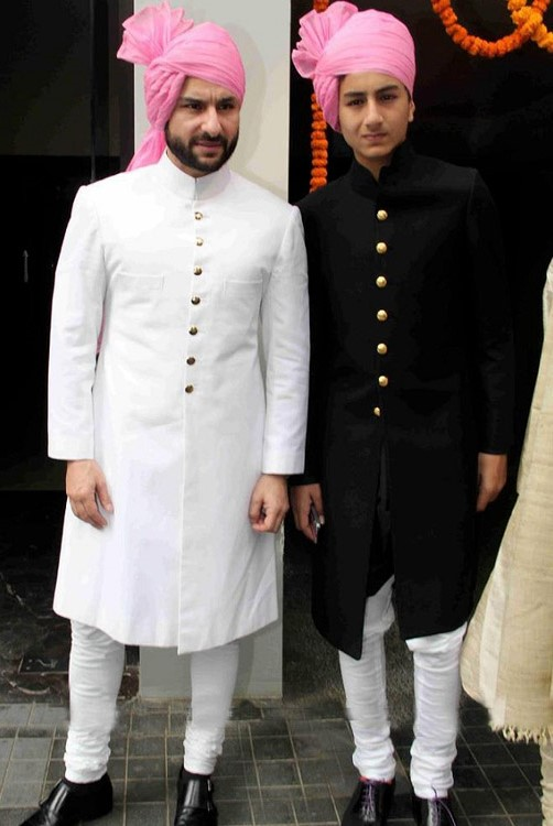 Saif and Son at Soha's Wedding