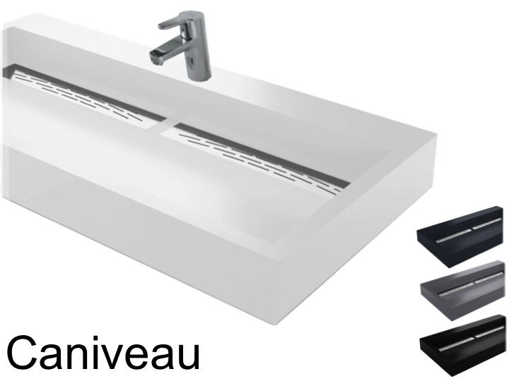 Vanity Hanging Or To Put Width 50 X 120 Cm In Resin Channel Double Vasque Suspendue Ou A Poser Largeur 50 X 90 Cm En Resine Caniveau Anthracite