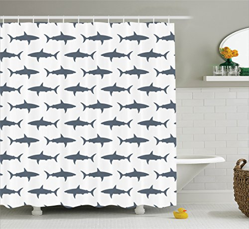 fish shower curtain set sea animals decor by ambesonne sharks swimming horizontal silhouettes traveler powerful danger design pattern bathroom accessories