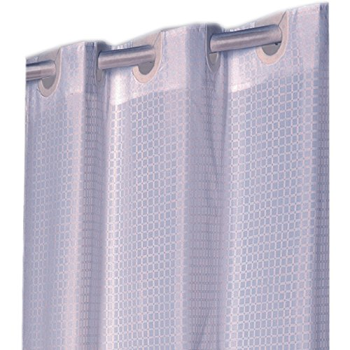 Hookless Checks White Ez On Fabric Extra Long Shower Curtain With